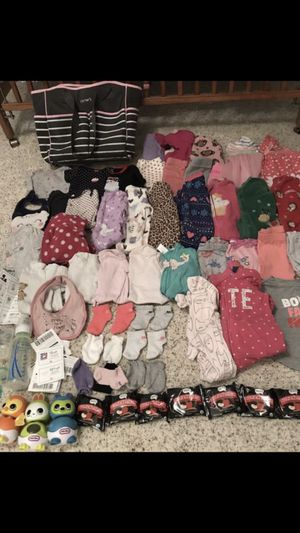 Carter's 9-18month lot 9 sleepers 2 bibs 15 pants 2 jackets 11 onesies 5 shirts 1 sweat shirt (juicy couture) with matching pants 3 socks 2 mit for Sale in Mesa, AZ
