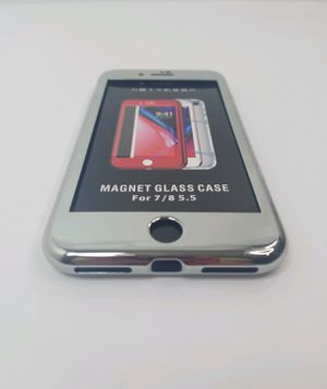 IPHONE 7 & 8 PLUS MAGNETIC GLASS CASE Silver for Sale in Covina, CA
