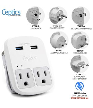 World Travel Adapter Kit by Ceptics - QC 3.0 2 USB + 2 US Outlets for Sale in Alhambra, CA