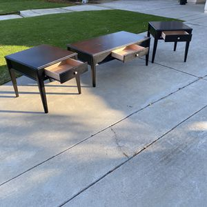 Coffee Table And 2 End Tables Black With A Dark Cherry Tint for Sale in Clovis, CA