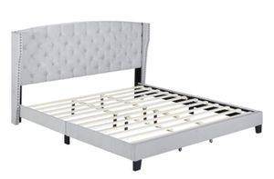 Queen Khaki Tufted with Nail Head Trim Platform Bed Frame - King also available for Sale in Wilmington, NC