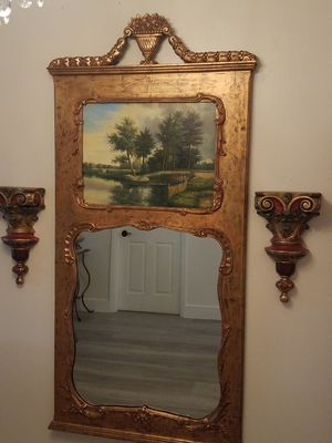 Antique mirror with oil paint on top and two sconces for Sale in Miami Gardens, FL