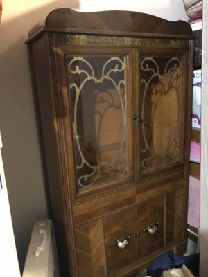 Antique waterfall style Art Deco fabulous China cabinet-shelved-Low fee Delivery available for Sale in Tualatin, OR