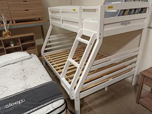 Twin over Full Bunk Bed**MATTRESS INCLUDED**, White for Sale in Santa Fe Springs, CA
