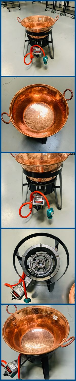 """COPPER CAZO SET 18"""" COPPER POT CAZO DE COBRE BURNER STAND INCLUDED NEW IN STOCK CARNITAS OUTDOOR PROPANE COOKING DEEP FRYING for Sale in Anaheim, CA"""