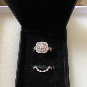 Round Cut White Sapphire, Sterling Silver Double Halo Bridal Set for Sale in San Jacinto, CA