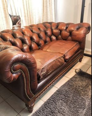 Pair (2) Deep brown leather Chesterfield couches for Sale in San Diego, CA