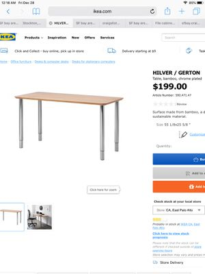 Ikea bamboo desk table bar table kitchen table or Standing desk for Sale in Los Altos Hills, CA