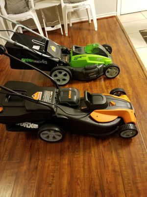Worx 17 inch cordless 40 volt double battery powerful lawn mower for Sale in Houston, TX