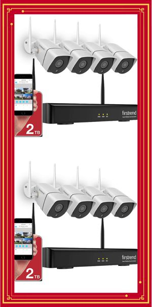 1080P Wireless Security Camera System, Firstrend 8CH Wireless NVR System with 4pcs 1080P Security IP Camera and 2TB Hard Drive Pre-Installed, 65ft for Sale in Alhambra, CA