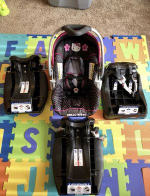 Hello Kitty Car Seat W/ 3 Bases for Sale in St. Louis, MO