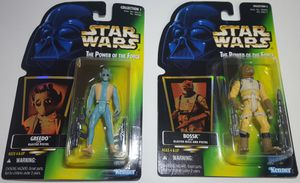 STAR WARS Power of the Force GREEDO With BlasterPistol & Power of the Force Bossk w/ Blaster Rifle Holo Card for Sale in Tacoma, WA