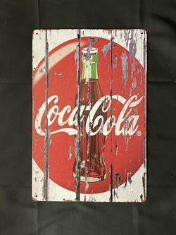 Coca Cola Vintage Antique Collectible Tin Metal Sign Wall Decor for Sale in Fontana,  CA