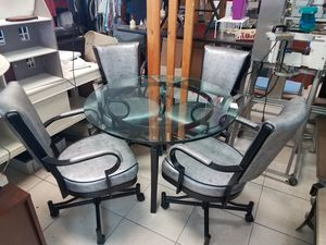 Dining table with four chairs faux snakeskin leather for Sale in Lantana, FL