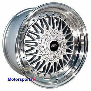 MST Wheels MT13 15 x 8 +20 Silver Deep Step Lip Rims 4x100 Stance 84 91 BMW E30 for Sale in City of Industry, CA