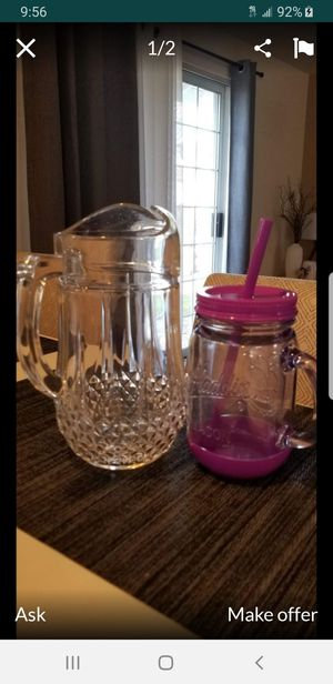 """Crystal pitcher 10"""" and Mason jar mug like new condition!!! $10 for both for Sale in Parkland, WA"""
