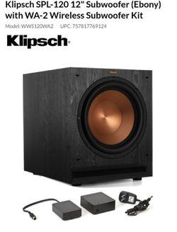 Brand New Klipsch SPL-120 12-inch Powered Subwoofer Bundle with Klipsch WA2 Wireless Adapter - Ebony for Sale in Ashburn,  VA