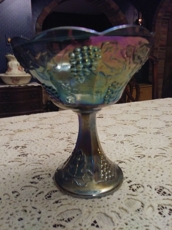 Gorgeous Blue Carnival Glass