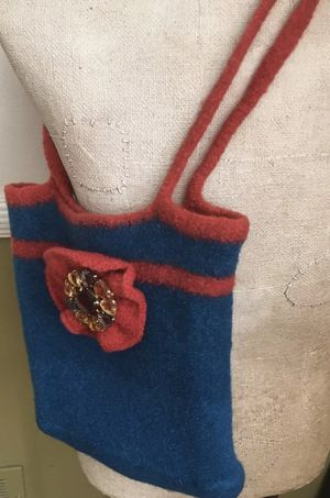 Felted Boiled Wool Flower Purse Wearable Art Handcrafted Jeweled Brooch attached. for Sale in Baltimore, MD