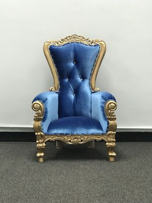 Free nationwide delivery | Gold blue velveteen kids Throne chairs king queen princess royal baroque wedding event party photography hotel lounge bout for Sale in Chicago, IL