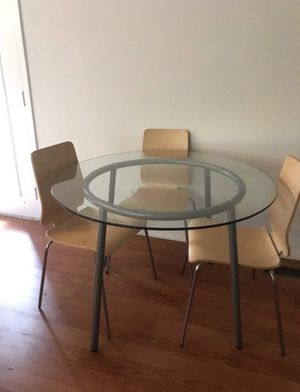 IKEA Round Glass Table with Three Chair for Sale in Bothell, WA
