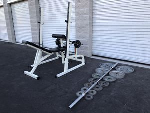 Squat rack/ utility bench/ Olympic weights for Sale in Stockton, CA