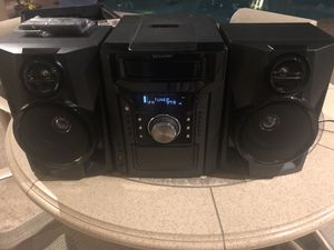 Stereo System - Sharp - Remote Control - 5 Disc CD Player - Cassette (Tape) Player - I-Phone Adapter On Top - Like Brand New - With Paperwork for Sale in Chandler, AZ
