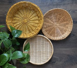 • 3x wicker rattan woven baskets wall hanging boho • for Sale in Issaquah, WA