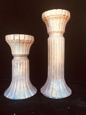 Ceramic candle holders, beautiful home accent, H12 x W4.5 inch (top) & H9 x W4.5 inch for Sale in Chandler, AZ