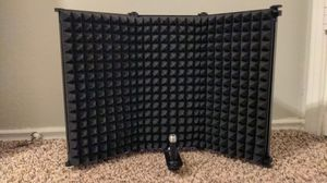 Microphone Isolation Shield - Black - Foldable with 3/8in Mic Threaded Mount, High Density Absorbing Foam Front and Vented Metal Back Plate for Sale in Arlington, TX