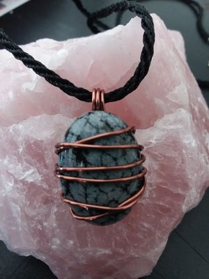 BRAND NEW, Beautiful Real Snowflake Obsidian and Copper Necklace. Nickle and Lead Free. Perfect for a MAN or WOMAN. for Sale in Rancho Cucamonga, CA