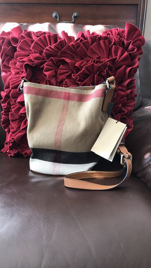 Burberry Mini Ashby Check Saddle Brown Canvas and Leather Cross Body Bag. With dust bag Authentic New and never has been used This bag has pouch, for Sale in Carlsbad, CA