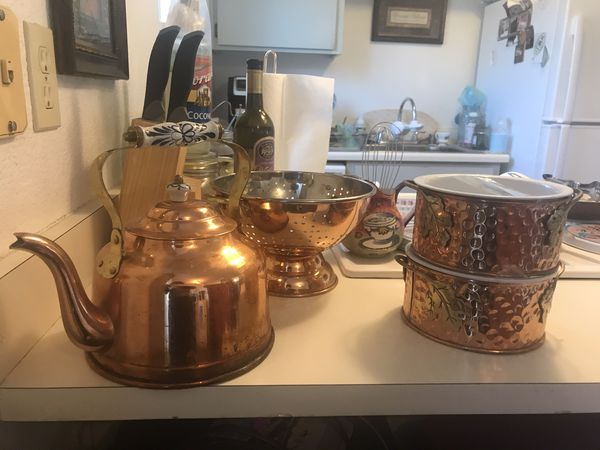Copper Tea Pot, Collider and Stoneware Cookware