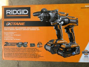 308056195 RIDGID 18-Volt OCTANE Lithium-Ion Cordless Brushless Combo Kit with Hammer Drill, Impact Driver, (2) OCTANE Batteries for Sale in Tacoma, WA
