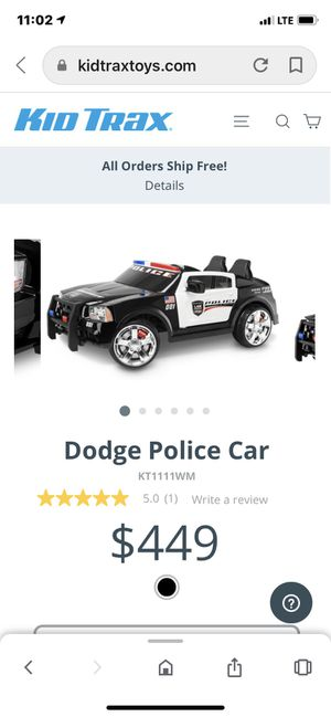 Kid Trax 12 volt Dodge Police Car 2 Seater $150 firm Only a few left for Sale in Hesperia, CA