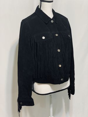 Vintage Black Suede Fringe Jacket-size medium for Sale in Houston, TX