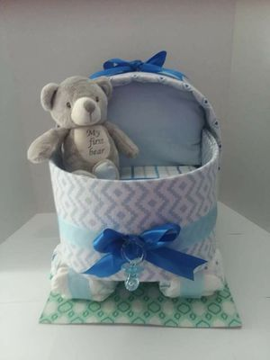Baby boy bassinet diaper cake newborn pampers huggies luvs small boy girl my first teady bear recieving blankets soft ribbon gift hospital baby shower for Sale in Tampa, FL