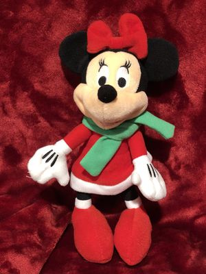 "Disney Minnie Mouse Christmas red dress with green scarf and red bow plush plushie stuffed animal toy sale 9"" tall. Great for Christmas tree or Chris for Sale in Phoenix, AZ"