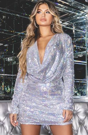 Plus Silver Sequin Cowl Neck Bodycon dress size 18 for Sale in Cuyahoga Heights, OH
