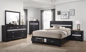 4 piece queen bedroom set comes with a queen bed frame dresser mirror and nightstand for Sale in North Highlands, CA