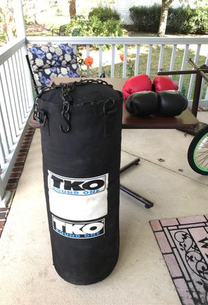 Large punching bag w/ chains and 2 pair of boxing gloves for Sale in Chesapeake, VA