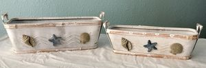 TWO RECTANGLE SHAPE NAUTICAL DECOR SMALL STORAGE BASKETS $10. for Sale in Denver, CO