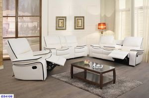 New white Bonded Leather reclining set 3pc for Sale in Kent, WA