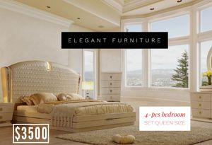 4pc Queen Bedroom Set- Recamara Queen de 4pc @Elegant Furniture for Sale in Fresno, CA