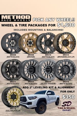 """17"""" Method Wheel & Tire Package with All Terrain Tires (Includes Mounting & Balancing) 4 Brand New Wheels/Tires. Fits Toyota Tacoma/4Runner/FJ Cruiser for Sale in San Diego, CA"""