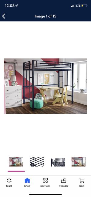 YourZone Metal Loft Bed, Twin Size, Blue for Sale in Las Vegas, NV