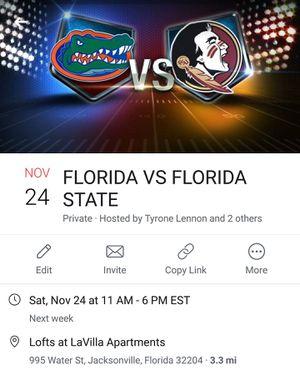 Florida gators vs Florida state Seminoles football game for Sale in Jacksonville, FL