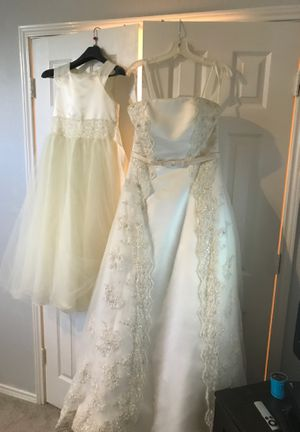Wedding dress with matching flower girl dress for Sale in Garland, TX