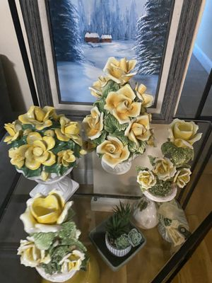 4 Fine porcelain roses decorative flower bouquets, one candle holder. 4 are made in Italy for Sale in Quincy, MA