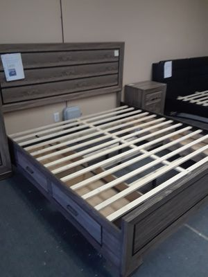 Eastern king bed frame box spring not required for Sale in North Highlands, CA